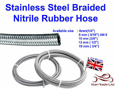 Stainless Steel Braided Hose Rubber Fuel Line Hose Petrol Fluid Pipe Oil Coolant