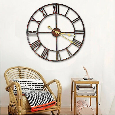 Large Round 78cm Bronze Rusted Vintage Numerals Traditional Outdoor Wall Clock