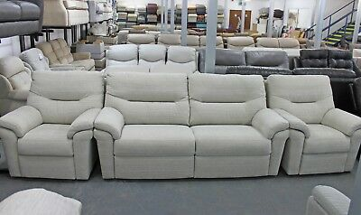 Washington Hopsack Chalk Fabric 3 Seater Sofa U0026 2x Armchairs High Quality