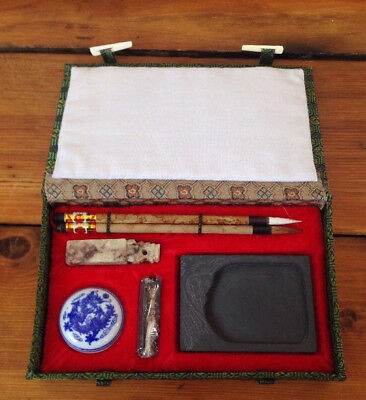 Vintage Chinese Carved Soap Stone Chop Stamp Seal Ink Kit w Box Brushes Pigment