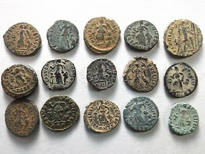 "Lot of 15 Higher Quality Ancient Late Roman ""Dragging Captive"" Coins; 18.7 Grams"