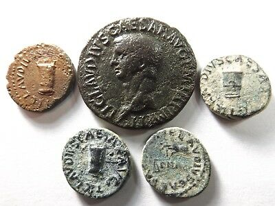 Lot of 5 Higher Quality Ancient Roman Coins; Claudius I...; 23.4 Grams!
