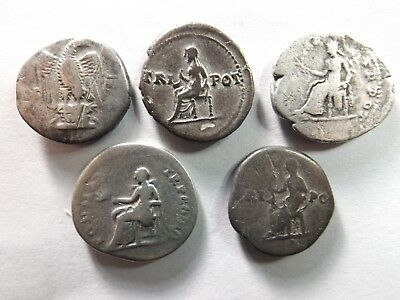 Lot of 5 Higher Quality Ancient Roman Silver Coins; Vespasian...; 14.7 Grams!