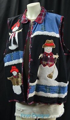 Phool Snowman Holiday Christmas Vest sleeveless top coat embellished plus 3X NEW