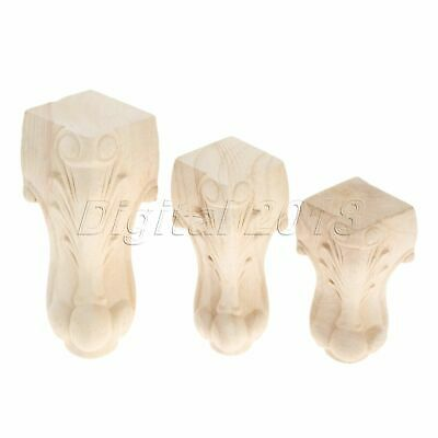 3 Size Unpainted Wood Carved Onlay Applique Carpenter Decal Leg Cupboard Decor