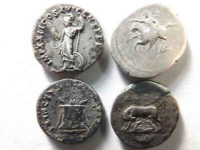Lot of 4 Quality Ancient Roman Silver Coins; Domitian...; 11.8 Grams!