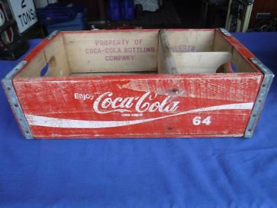 VINTAGE 64oz COCA-COLA WOODEN CRATE CARRIER ADVERTISING BOTTLING COMPANY