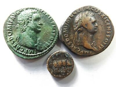 Lot of 3 Higher Quality Ancient Roman Coins; Domitian, Rhinocerus..; 23.4 Grams!