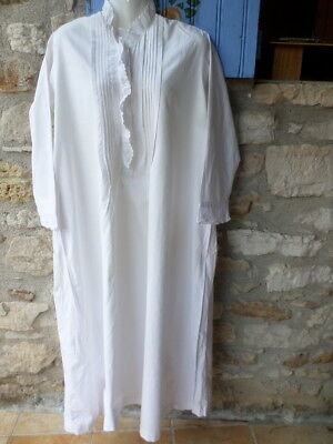 Exquisite Antique French Hand-Worked Monogram AB White Cotton Nightdress Robe