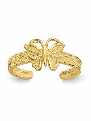 14k Yellow Gold Butterfly Adjustable Toe Ring - 1.24 Grams