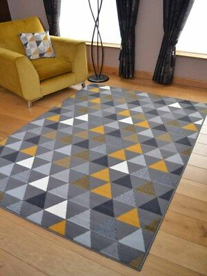 Grey Ochre Silver Triangles Hall Runner Small Extra Large Long Carpets Rug Cheap