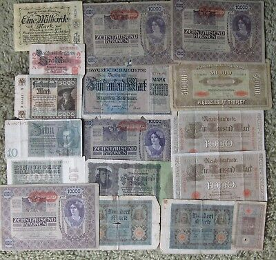 17 Piece European Inflation Currency - 1920's and earlier