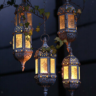 Vintage Hanging Candle Holder Moroccan Glass Candle Lantern Wedding Home Decor