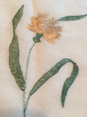 "Art Deco Vtg Society Silk Embroidered On Linen 13"" Dollie Dresser Scarf As Is"