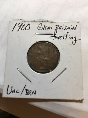 Great Britain 1900 Farthing Very Nicely Toned Coin with Great Details