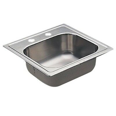 Moen 22119 Commercial Sink 20 ga 2 hole STAINLESS includes sealtite strainer