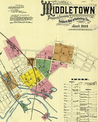 Middletown, Pennsylvania~Sanborn Map©~75 maps on a CD in full color