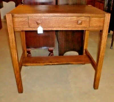 Antique Mission Tiger Oak Library Desk Table Stand One Drawer Arts and Crafts