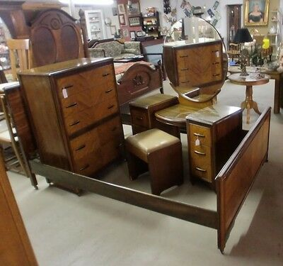 Walnut Bookmatch Inlaid Bedroom Suite Vanity Stool Chest Full Size Bed NICE!