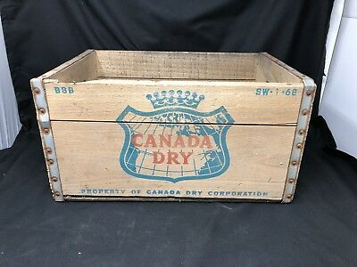 Vintage 1968 Canada Dry Ginger Ale Soda Wood Crate