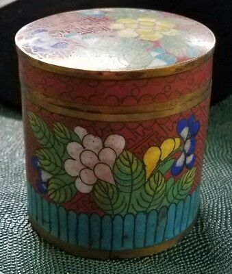 Antique Copper Cloisonne Enamel Floral Round Jar Tea-Caddy Tobacco Cigarette Box