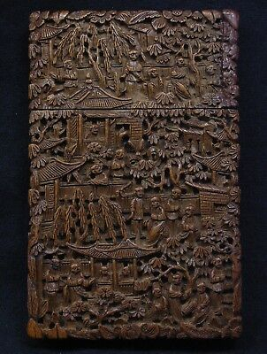Antique Chinese Sandalwood Carved Cantonese Card Case