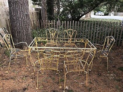 Vintage Wrought Iron Furniture Patio Salterini Dining Table With Gl 6 Chairs