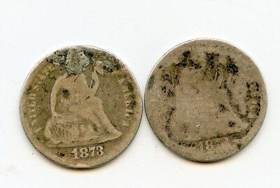 1873 WITH ARROWS AND NO ARROWS SEATED SILVER DIMES~ A/GOOD ~    *hucky*