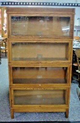 Golden Oak Globe Wernicke 4 Stack Barrister Bookcase with Top and Base