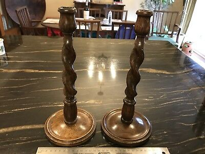 Antique Late 19th Century Pair Oak Barley Twist Candlesticks