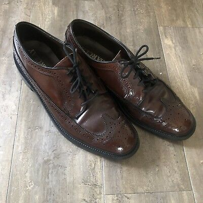 59a8043aa54d3 Barclay Vtg Dark Brown Leather Brogue Wing Tip Oxford Dress Shoes Men s 9 D