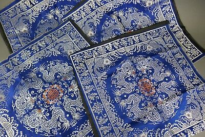 Fine Old Chinese Lot (4) Embroideries Scholar Work Of art