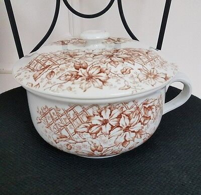 F Winkle & Co England Chamber Pot Aesthic Japanese style 1880's  Brown White