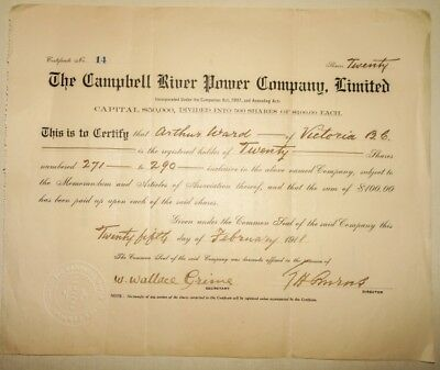 Antique 1911 Campbell River Power Co Ltd Shares Certificate Victoria BC