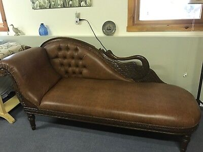Rare Victorian Swan Fainting Couch/Chaise!  Very Good Cond!