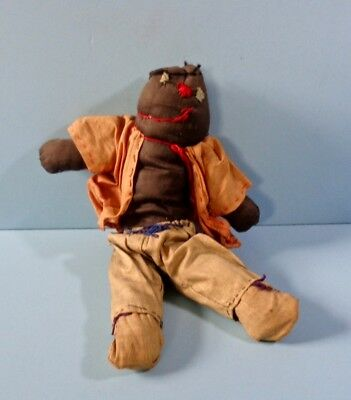 """Early Primitive Hand Made Black Boy 12"""" Fabric Doll Hand Stitched Linen Clothes"""