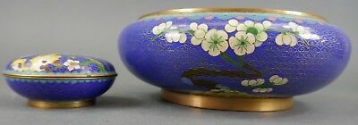 Fine Old Chinese Lot (2) Cloisonné Bowls Scholar Work Of Art