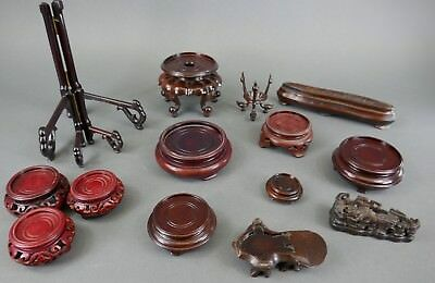 Fine Old Chinese Lot (15) Small Carved Wood Stands Display Carving Scholar Art