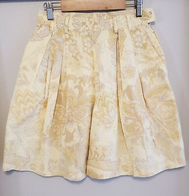 1980s Bogner Yellow Paisley Print Pleated High Waist Shorts Size 6