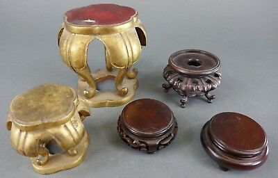 Fine Old Chinese Lot (5) Carved Wood Stands Display Carving Sculpture Art
