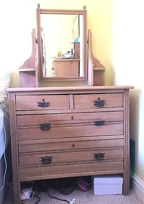 Antique Chest Of Drawers With Mirror - Beautiful, With Pretty Groove Detailing