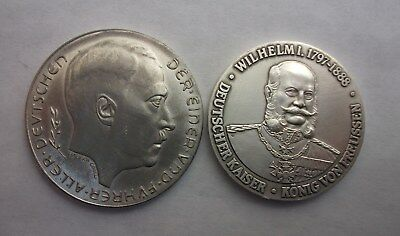 German Medals Adolf Hitler 1938 Not Silver And Wilhelm I 1797-1888. Aluminum