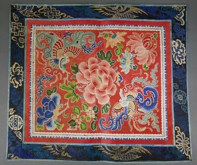 Fine Old Chinese Silk Embroidery Badge Banner Robe Scholar Art #3
