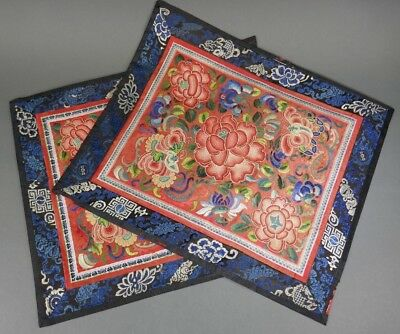 Fine Old Chinese Pair Silk Embroidery Badge Banner Robe Scholar Art #5