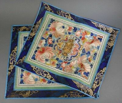 Fine Old Chinese Pair Silk Embroidery Badge Banner Robe Scholar Art #9