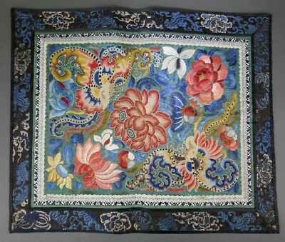 Fine Old Chinese Silk Embroidery Badge Banner Robe Scholar Art #12