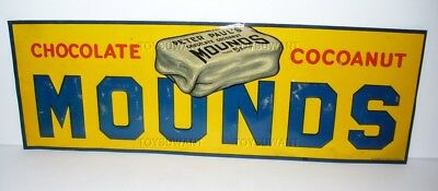 Antique Tin Sign Mounds Chocolate Coconut Peter Paul Candy Bar Advertising