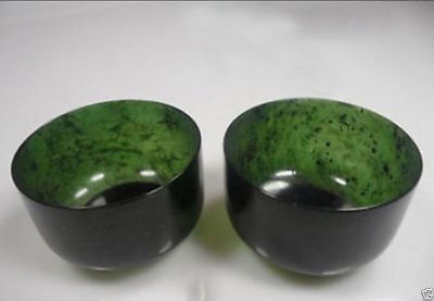 2PCS Exquisite natural hand-carved Chinese Hetian black green Jade - Jade bowl