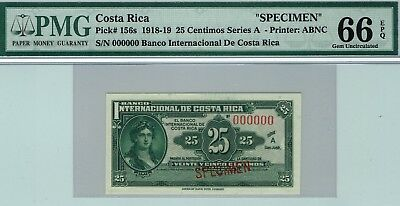 Banco Internacional Costa Rica 25 centimos P-156s PMG 66 EPQ GEM Uncirculated