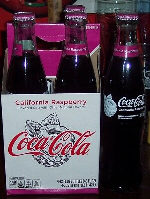 2018 Coca Cola California Raspberry 4 Pack Of 12 Ounce Glass Bottles & Carrier